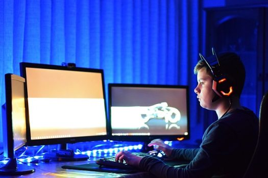 Dreng spiller computer